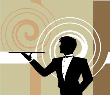 Llustration of Waiter holding an empty tray. Vector illustration