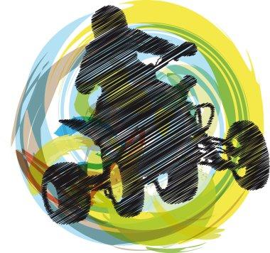 Sketch of Sportsman riding quad bike. Vector illustration