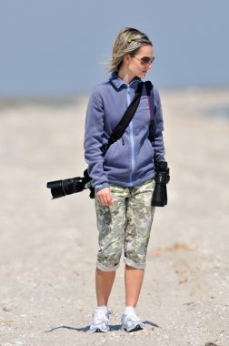 Professional woman photographer outdoor