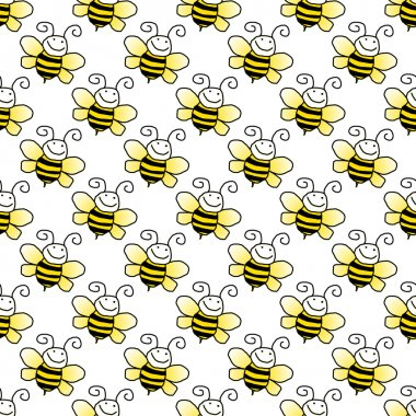 Yellow and black smiling cartoon bumblebees on white background stock vector