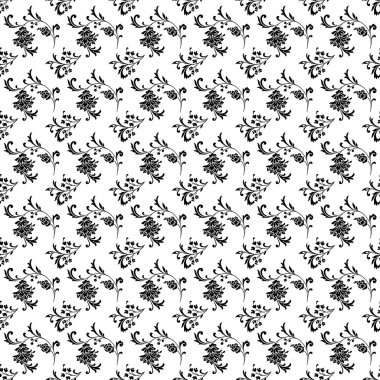 Seamless White and Black Floral Damask Background