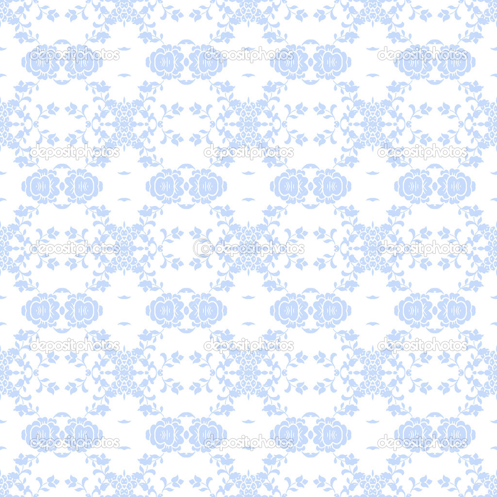 Seamless Pale Blue Damask Background Wallpaper Stock Photo