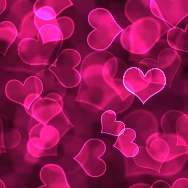 Bright pink hearts in various focus bokeh design on dark background stock vector