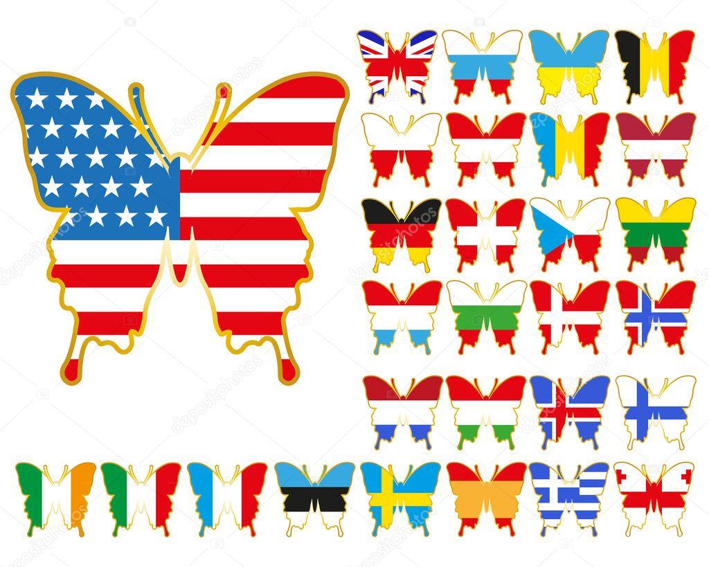 Bandiere Di Paesi Di Europa E Usa Vettoriali Stock Ichopyk 10473593