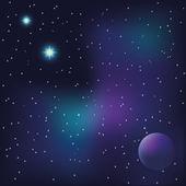Planet a jasných hvězd ve vesmíru