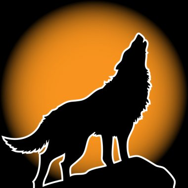 Lonely wolf howling on the full moon