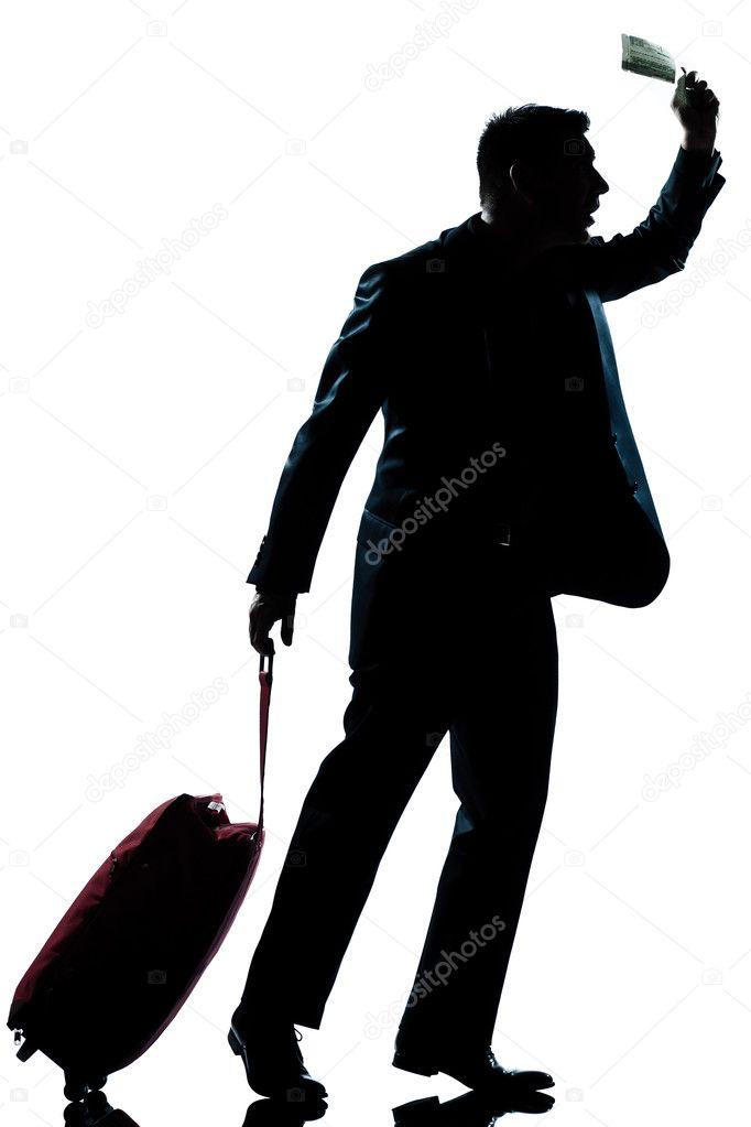 viajante de negócios de homem de silhueta correndo atrasado stock