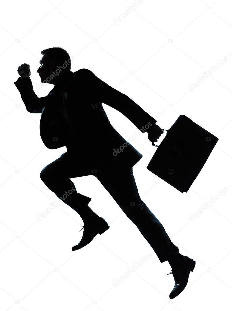 homem de uma negócios silhueta correndo de salto fotografias de