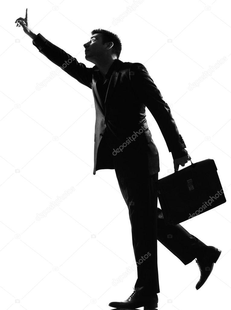 homem de silhueta correndo chamando fotografias de stock