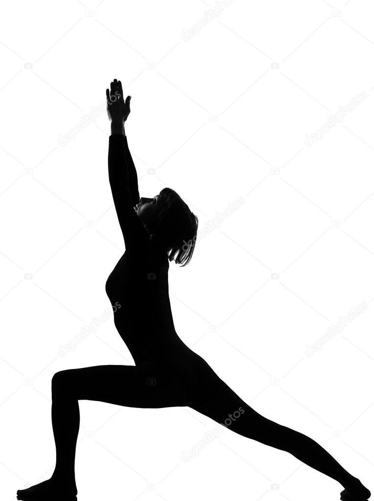 Woman Virabhadrasana Warrior Postion Yoga Pose Posture Position In Silouhette On Studio White Background Photo By STYLEPICS