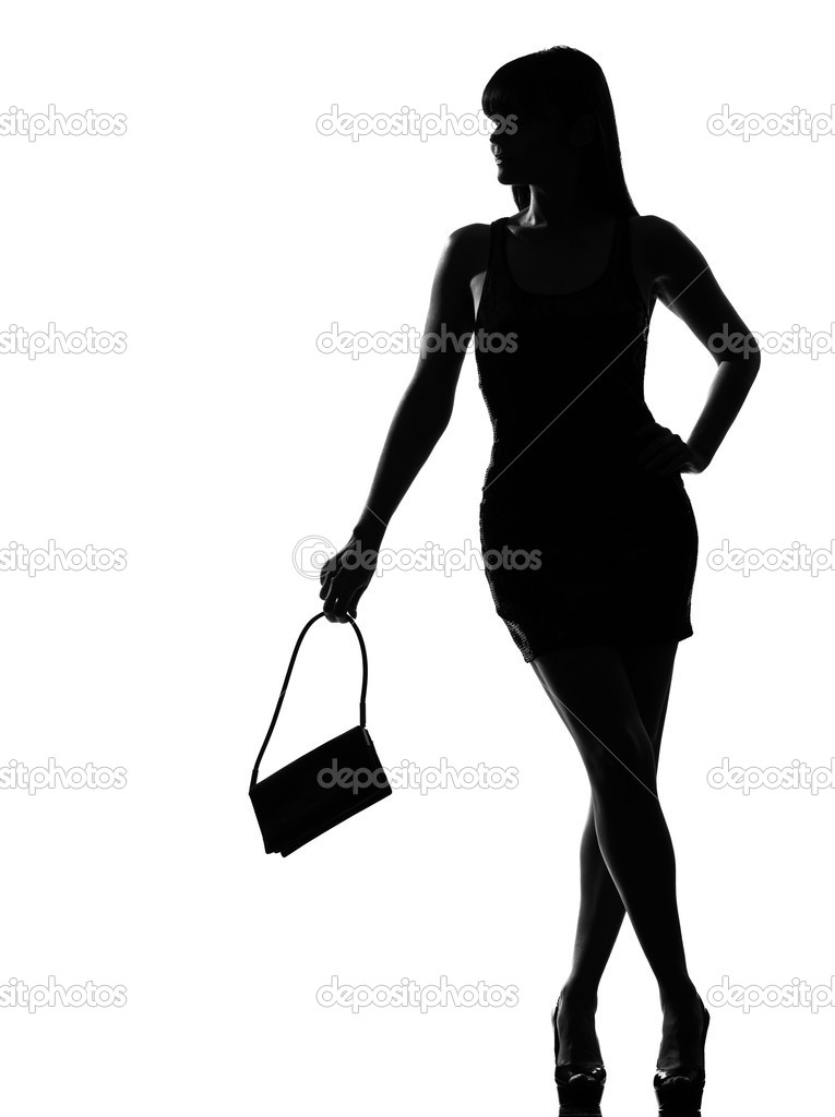 Stylish silhouette woman waiting holding purse — Stock ...