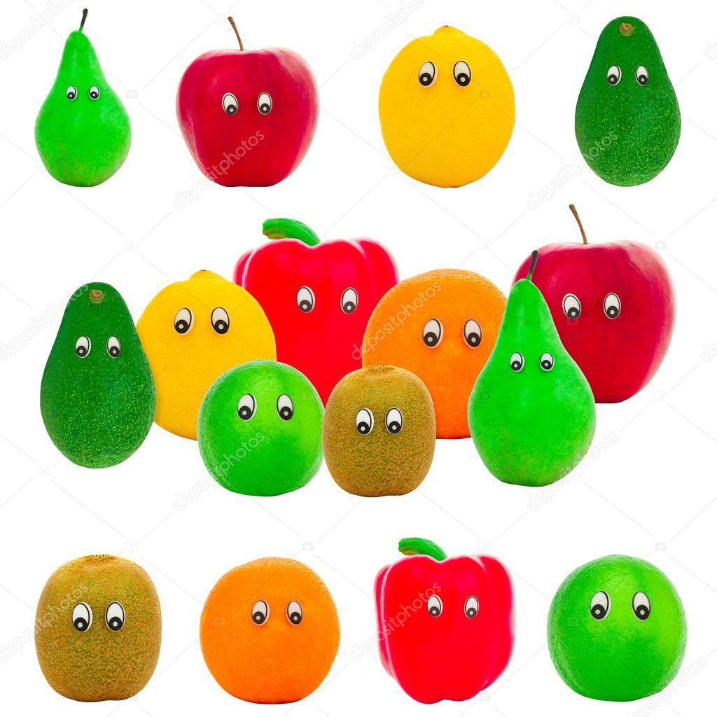 Скачать картинки фруктов. Фрукты и овощи с глазами ...