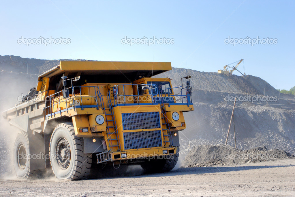 The truck transporting coal