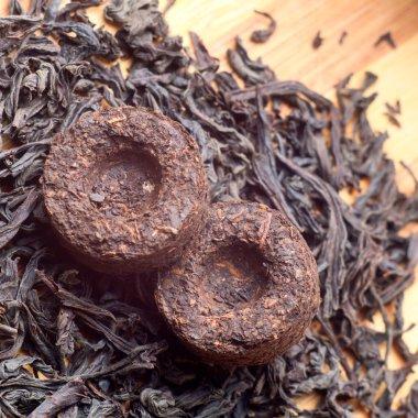 Two bricks of old aroma tea pu-erh