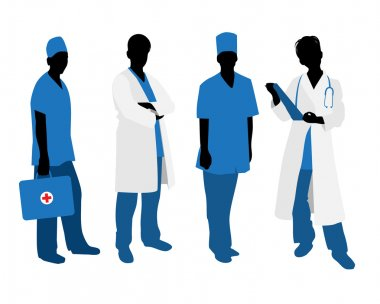 Vector illustration of a four doctors silhouettes on white stock vector