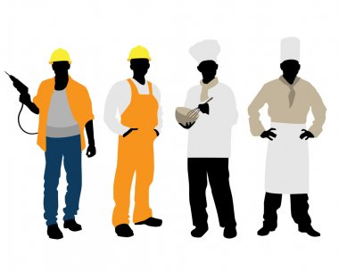 Cooks and builders silhouettes
