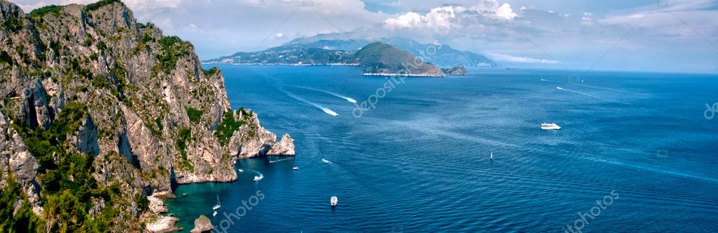 Panoramic view of Capri Island gulf, Naples