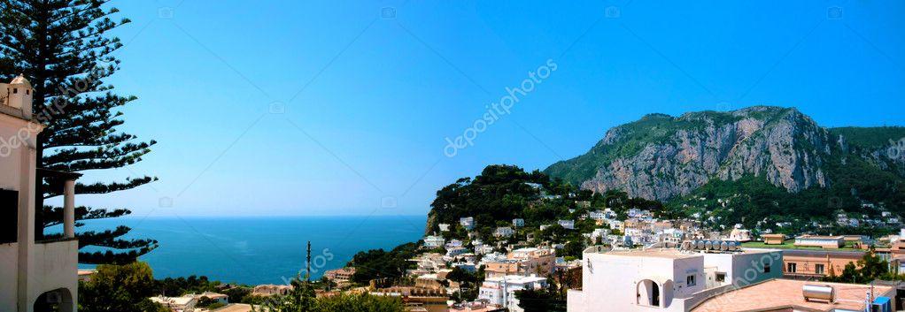 Panoramic view of Capri gulf, Naples