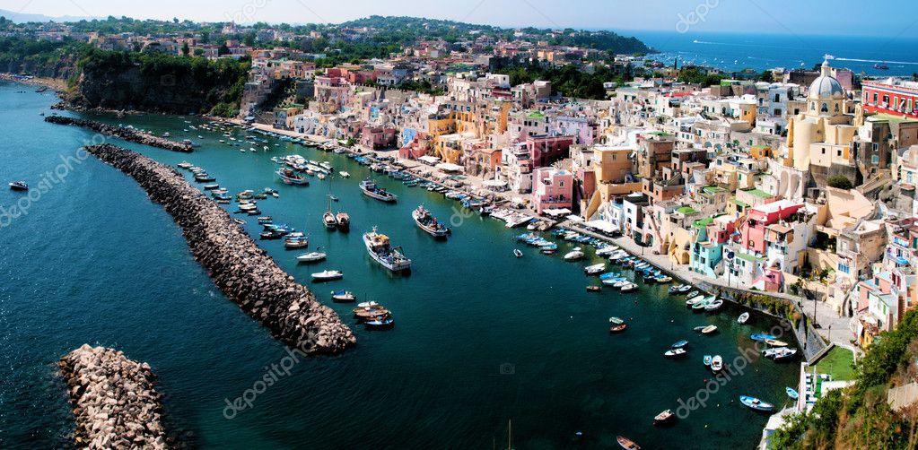 Panoramic view of Procida Island, Naples