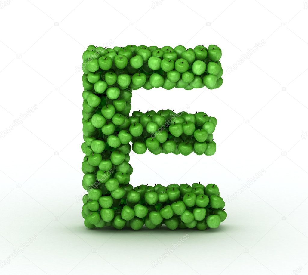 Letter E, alphabet of green apples