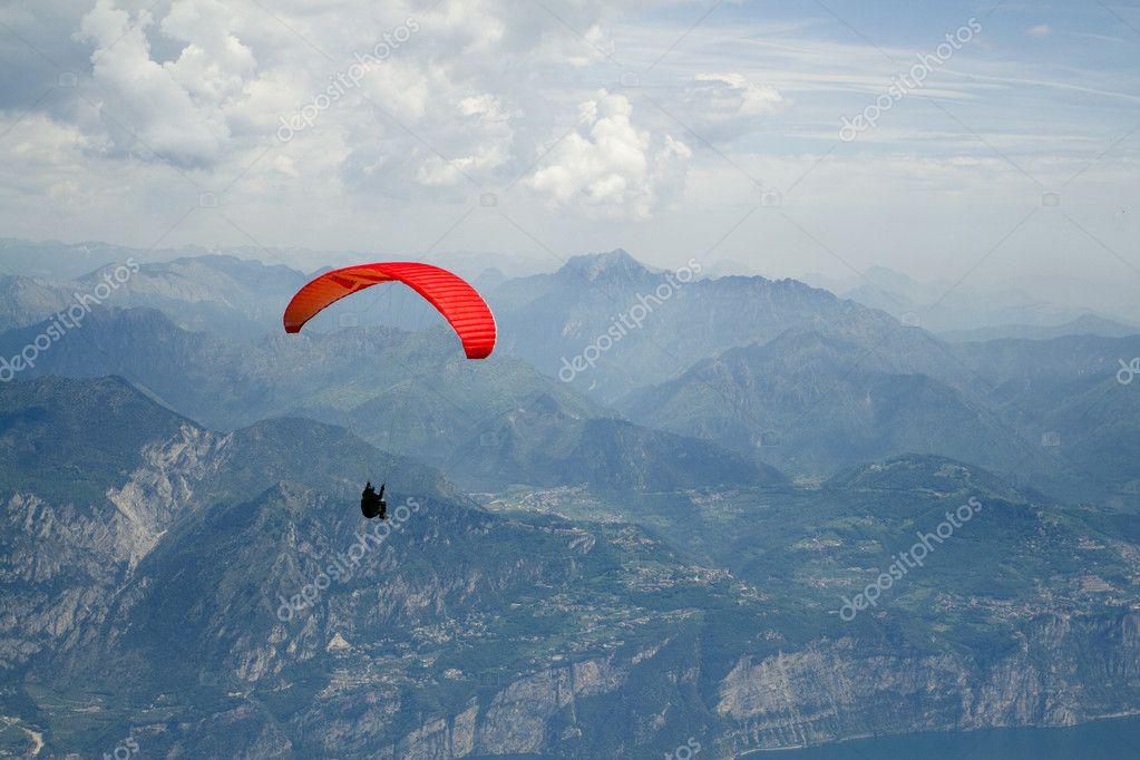 Paragliding on Mount Baldo, Verona, Italy