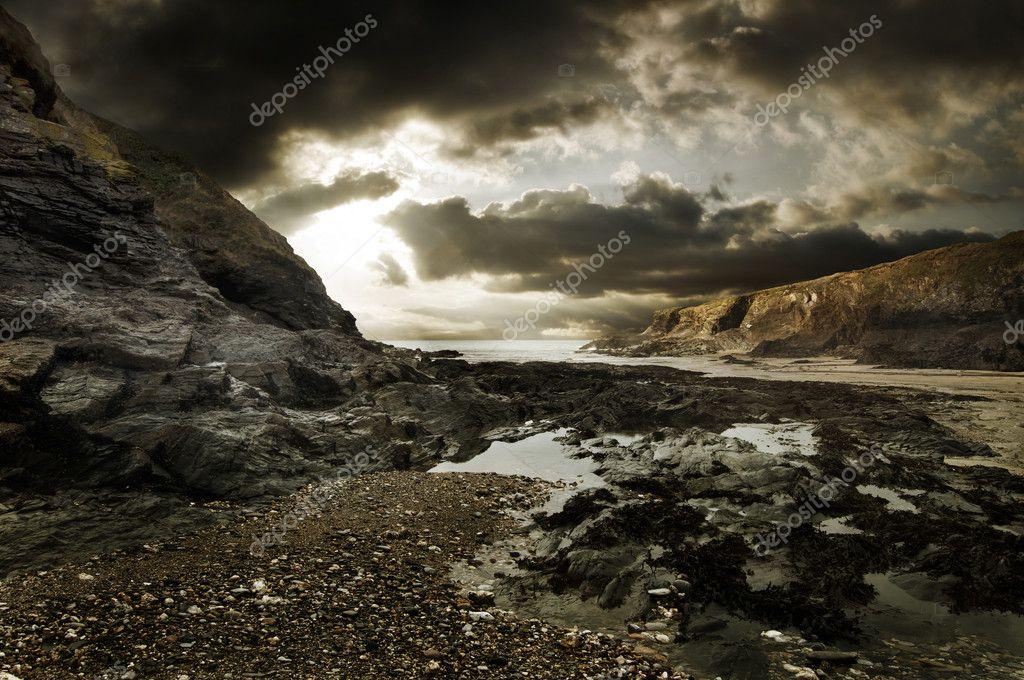 Dramatic Rocky Beach Landscape
