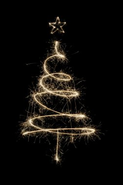 Sparkler Christmas tree in gold