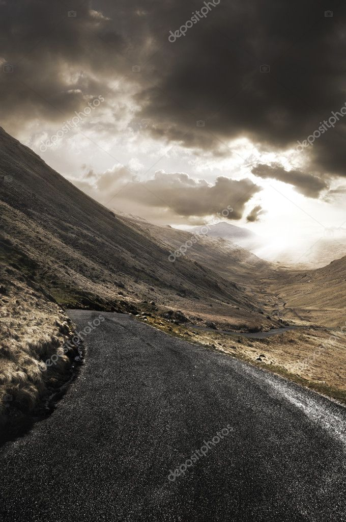 Rugged landscape with roadway