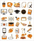 30 oktatás ikonok vektoros illusztráció készlet