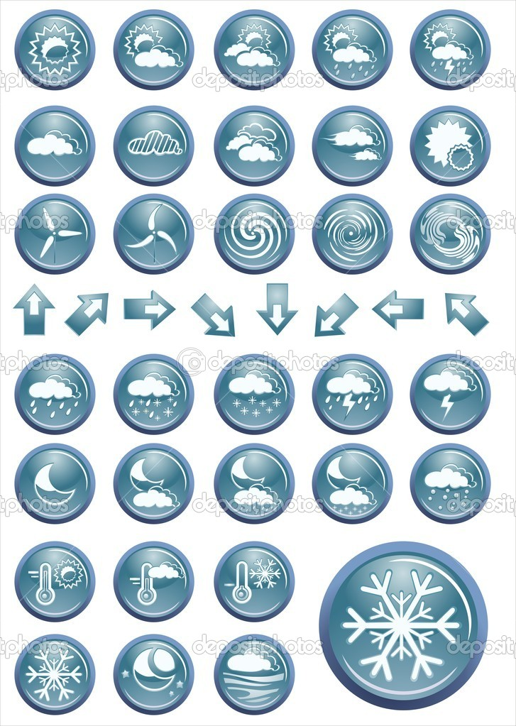 Vector weather icon set buttons