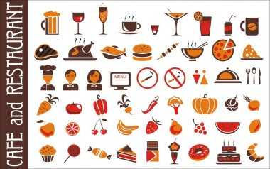 Food and drink icons set white background