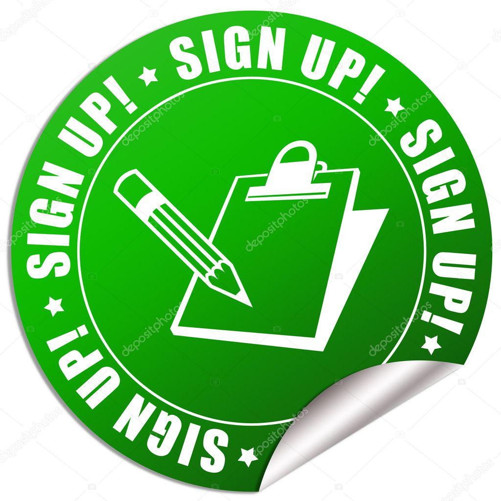Sign up sticker