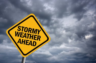 Stormy weather warning sign