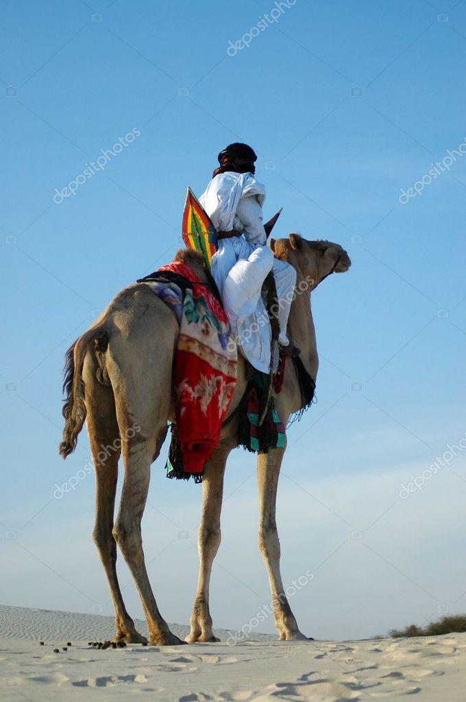 Cavalier touareg sur son chameau dans le désert — Photographie trevkitt © #9435151