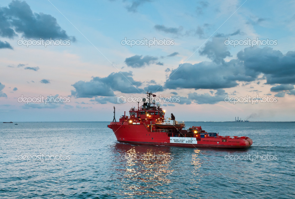 Rescue vessel sailing out for offshore service