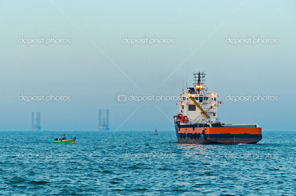 Supply vessel sailing out for offshore service