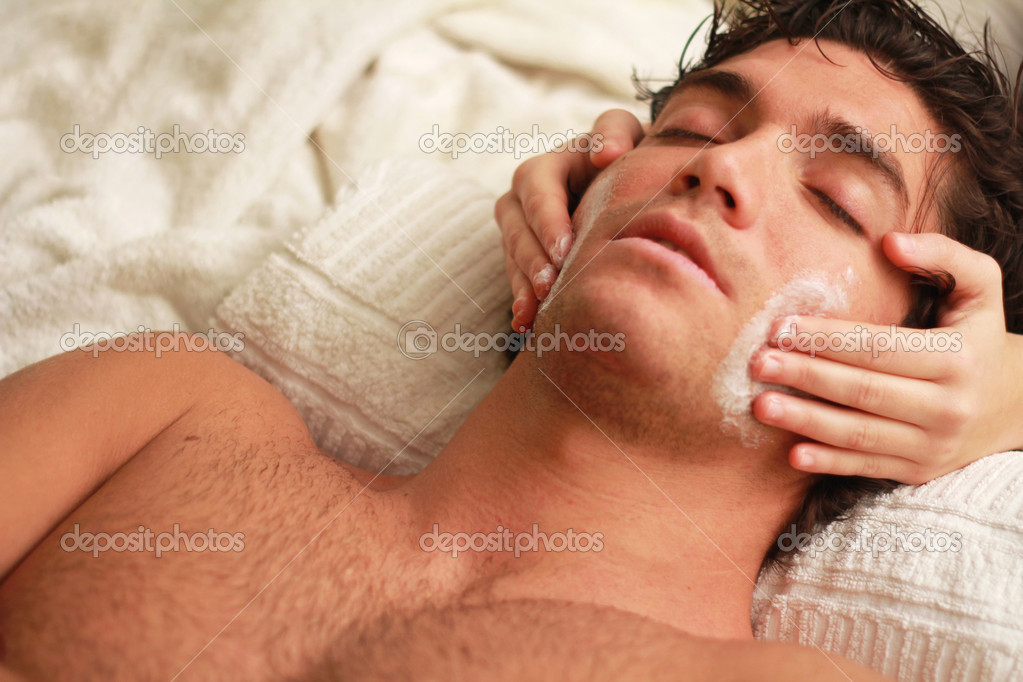 Relaxed young man at the spa