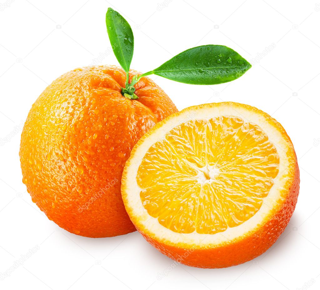 Sliced orange fruit with leaves isolated on white. clipping path