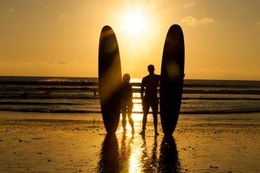 Beach surfer silhouette