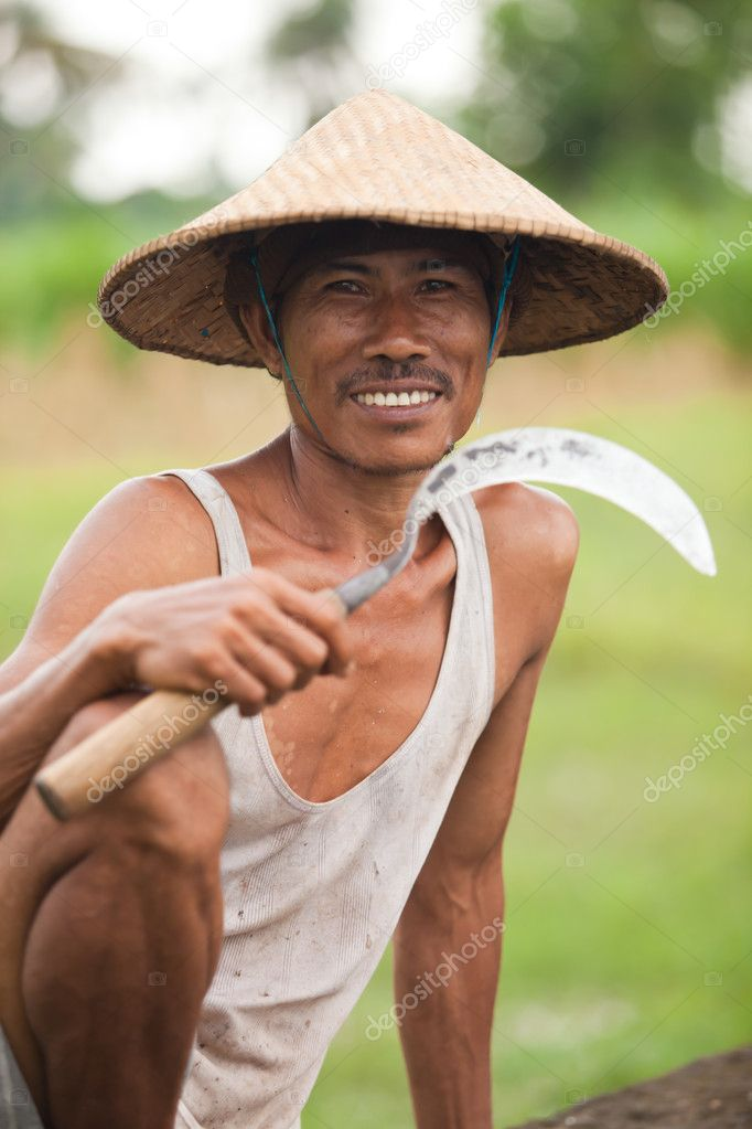 Asian rice farmer picture