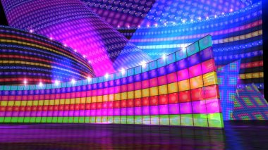 The disco stage set rainbow