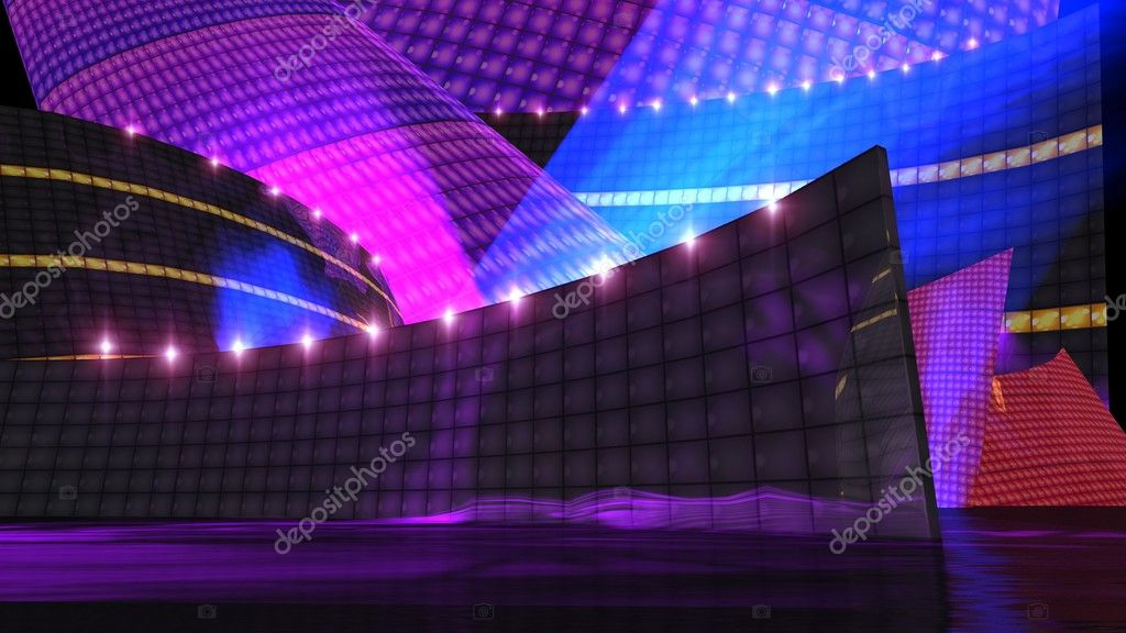The disco stage set a