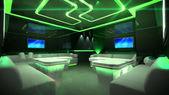 Zöld cyber belső szoba