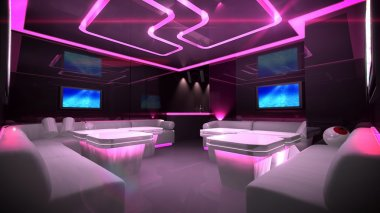 Pink cyber interior room
