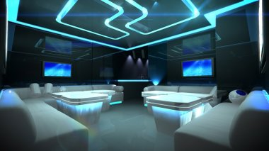Blue cyber interior room