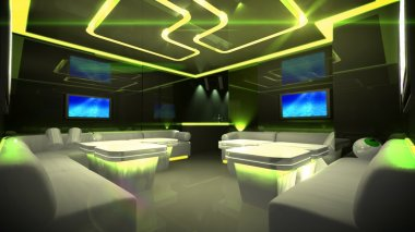 Yellow cyber interior room