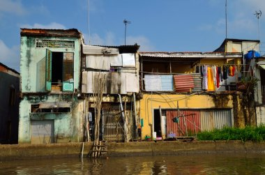 Poor colorful house at Mekong Delta