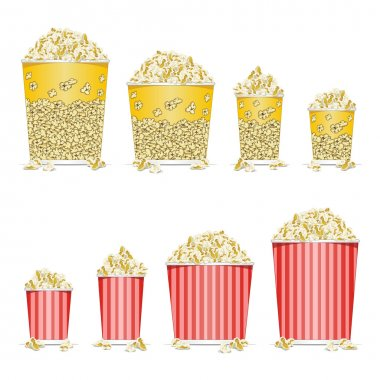 Illustration of bucket full of popcorn on white background