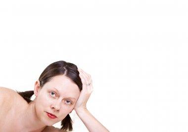 Pale skinned English lady with red lips posing whilst making eye contact