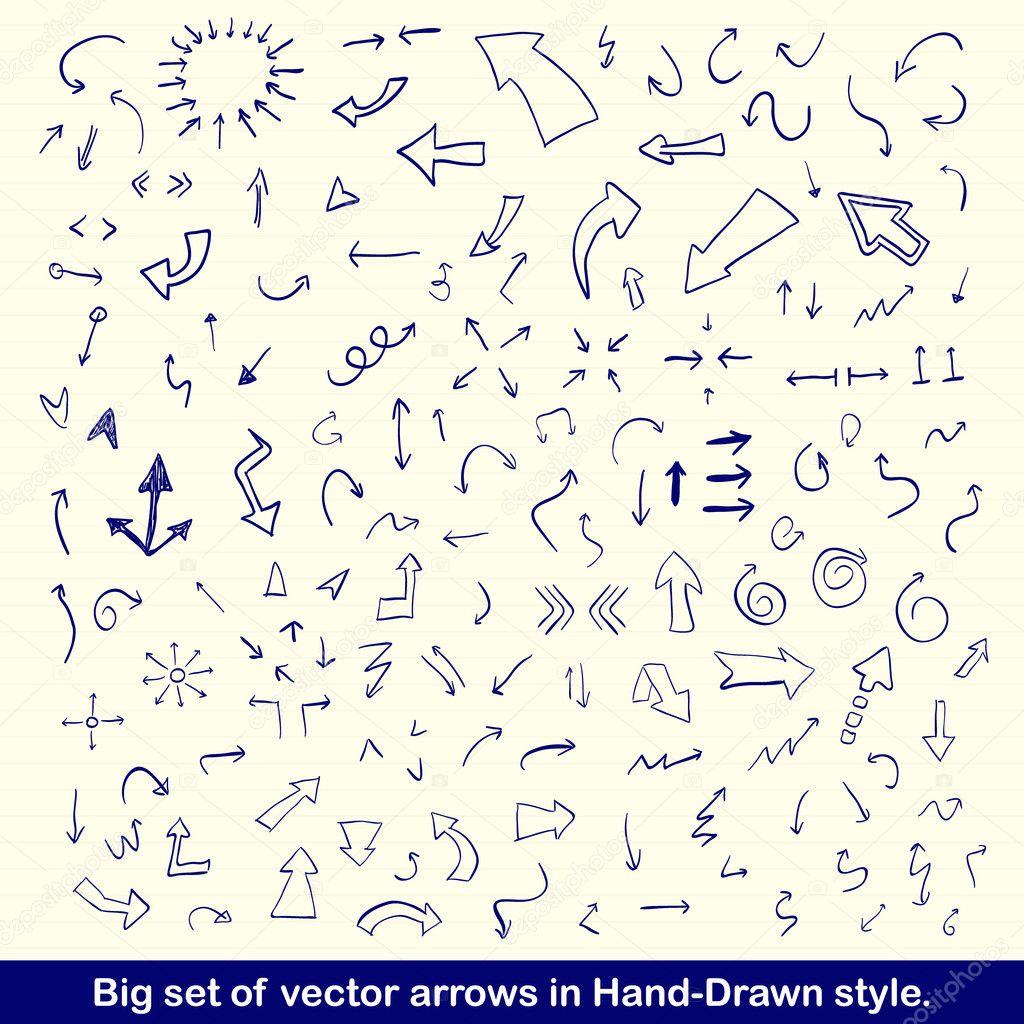 Blue hand drawn arrows set